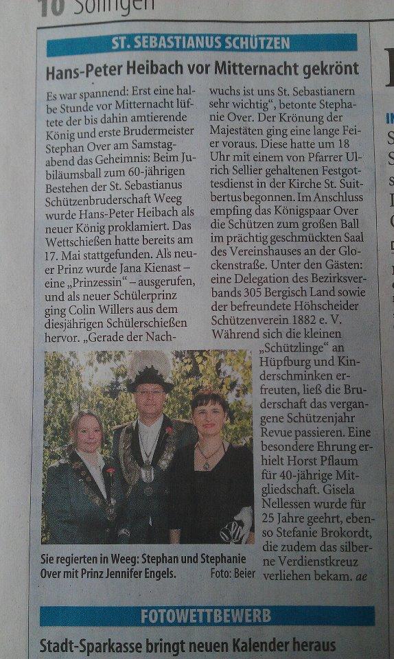 Solinger Tageblatt vom 04.06.2012
